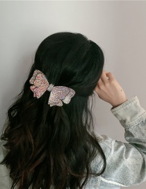 Fashion Pastel Full Diamond Butterfly Combined With Blonde Clip