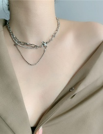 Fashion Silver Color Chain Pearl Windmill Double Layer Necklace