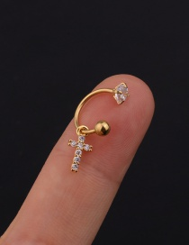 Fashion 7# 8mm Gold Color Color Stainless Steel Geometric C-shaped Flower Micro-inlaid Zircon Earrings (1 Price)