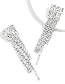 Fashion Silver Color Claw Chain Square Alloy Diamond Long Tassel Earrings