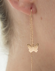 Fashion Gold Color Butterfly Chain Alloy Earrings