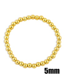 Fashion Gold Color 5mm Handmade Beaded Round Bead Copper Gold-plated Stretch Bracelet