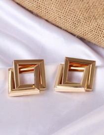 Fashion Gold Color Geometric Square Cross Alloy Hollow Earrings