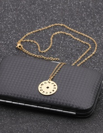 Fashion Twelve Constellations Gold Coloren Stainless Steel Chain Constellation Hollow Round Necklace