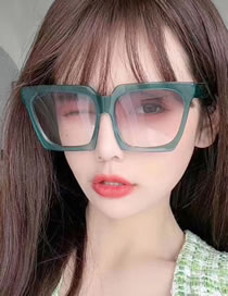 Fashion Jelly Green Double Gray Large Frame Square Resin Gradient Sunglasses