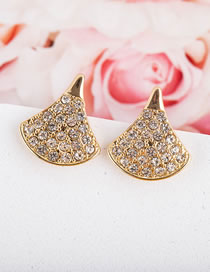 Fashion Gold Color Scalloped Crystal Alloy Earrings