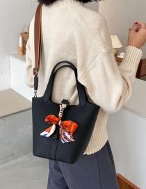Fashion Black Lychee Pattern Silk Scarf Wide Band Shoulder Messenger Bag