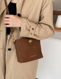 Fashion Brown Frosted Lock And Gilded Letters One-shoulder Messenger Bag