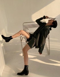 Fashion Black Square Toe Side Zip Mid-heel Ankle Boots