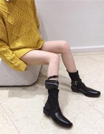 Fashion Black Platform Zipper Stitching Belt Buckle Martin Boots