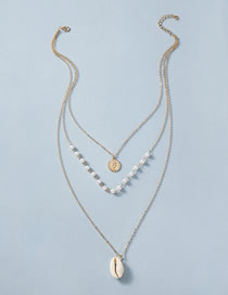 Fashion Shell Round Piece Pearl Natural Shell Conch Multi-layer Necklace