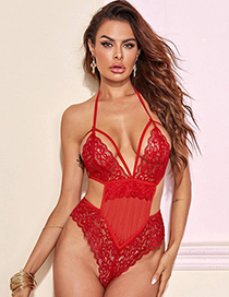 Fashion Red Lace Perspective Hollow One-piece Pajamas