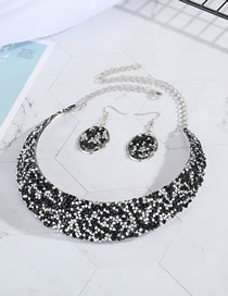 Fashion Black Stardust Sequins Oval Earrings Necklace