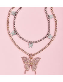 Fashion Gold Coloren Alloy Multilayer Necklace With Diamond Butterfly Pendant