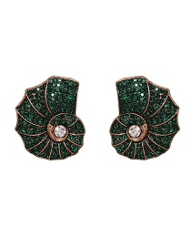 Fashion Green Large Conch Full Of Diamond Alloy Earrings