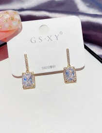Fashion Real Gold Color Plated Micro-set Zircon Geometric Earrings