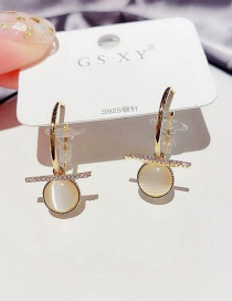 Fashion Real Gold Color Plated Micro-set Zircon Straight Opal Round Earrings