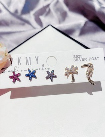 Fashion Gun Black Plated With Real Gold Color Micro-inlaid Zircon Starfish Coconut Woodpecker Earrings Set
