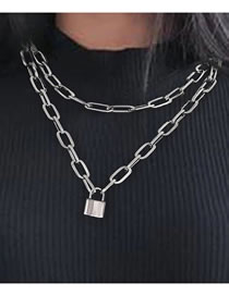 Fashion Silver Color Lock-shaped Thick Chain Alloy Multilayer Necklace
