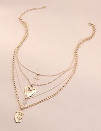 Fashion Gold Color Color Cross Love Rose Multilayer Necklace