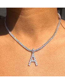 Fashion Silver Color Color Letter Full Diamond Alloy Hollow Necklace