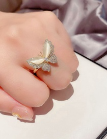 Fashion Real Gold Plated Opal Micro-set Zircon Butterfly Ring