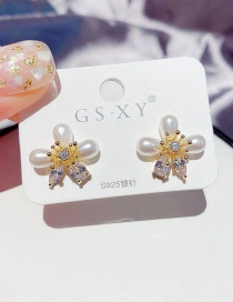 Fashion Real Gold Plated Flower Drop Imitation Pearl Zircon Earrings