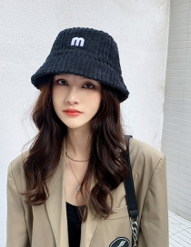 Fashion Black Corduroy Double-sided Embroidered Fisherman Hat With Letters