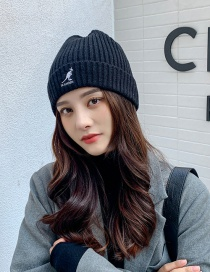 Fashion Black Pure Color Letter Embroidery Woolen Knit Hat