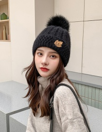 Fashion Black Wool Rabbit Embroidered Solid Color Knitted Hat
