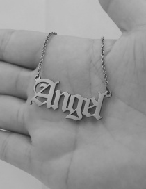 Fashion Angel-steel Color Letter Stainless Steel Hollow Necklace