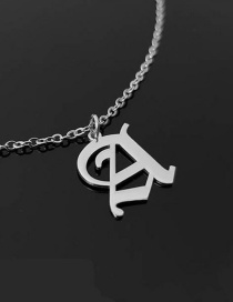 Fashion Stainless Steel Color A Stainless Steel Ancient English Letter Hollow Necklace