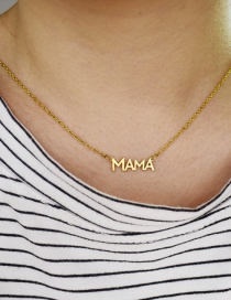 Fashion Gold Color Letter Stainless Steel Pendant Hollow Necklace