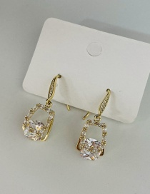 Fashion Gold Color Inlaid Zircon Geometric Alloy Hollow Earrings