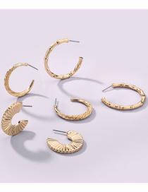 Fashion Gold Color Alloy Fan-shaped Bamboo Joint Geometric Earrings Set