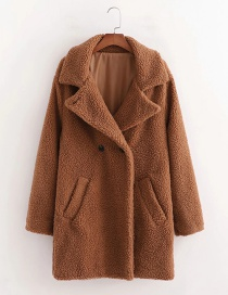 Fashion Brown Lapel Solid Color Teddy Hair Mid-length Coat