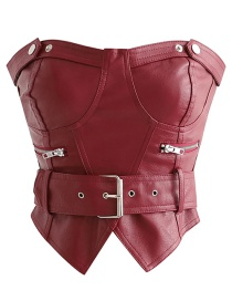 Fashion Red Wine Belted Zippered Leather Chest