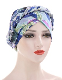Fashion Light Blue Braided Milk Silk Flower Print Geometric Turban Hat