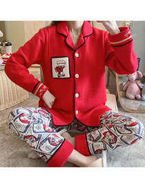 Fashion Red Mickey Mouse Printed Thick Quilted Layer Confinement Cardigan Nursing Pajamas