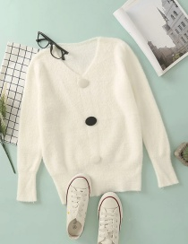 Fashion White Mohair Button Pullover V-neck Sweater