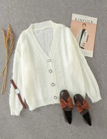 Fashion Creamy-white Wool Knit V-neck Loose Cardigan Sweater