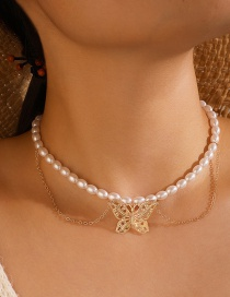 Fashion Golden Butterfly Pearl Alloy Hollow Double-layer Necklace