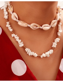 Fashion White Natural Gravel Round Beads Shell Multilayer Necklace
