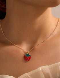 Fashion Strawberry Strawberry Oil Drop Pendant Alloy Necklace