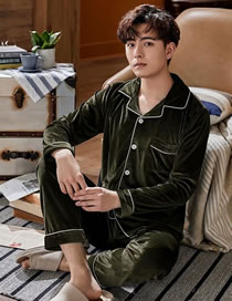 Fashion Army Green Coral Fleece Pajamas Men's Long-sleeved Cardigan Home Service Suit