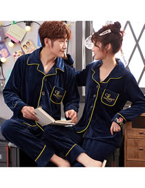 Fashion 1 Blue (male Style) Cardigan Coral Fleece Couple Pajamas Home Service Suit