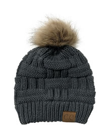 Fashion Dark Gray Knitted Hat With Bamboo Woven Letter Mark Cross With Back Opening