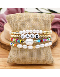 Fashion Set Price Mixed Color Rice Beads Letter Natural Freshwater Pearl Bracelet