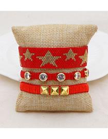 Fashion Set Price Red Five-pointed Star Diamond Rivet Rice Bead Braided Bracelet