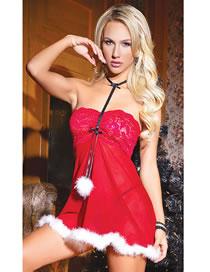 Fashion Red Lace Transparent Plush Sexy Lingerie